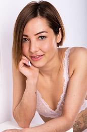Mizuki Strips off her White Lace Lingerie
