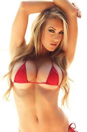 Busty Summer in a Skimpy Red Bikini